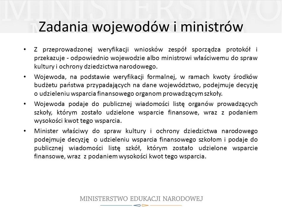 Z przeprowadzonej weryfikacji wniosków zespół sporządza protokół i przekazuje - odpowiednio wojewodzie albo ministrowi właściwemu do spraw kultury i ochrony dziedzictwa narodowego.
