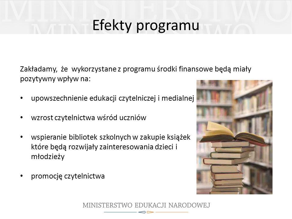 Efekty programu Zakładamy, że wykorzystane z programu środki finansowe będą miały pozytywny wpływ na: upowszechnienie edukacji czytelniczej i medialnej wzrost czytelnictwa wśród uczniów wspieranie bibliotek szkolnych w zakupie książek które będą rozwijały zainteresowania dzieci i młodzieży promocję czytelnictwa