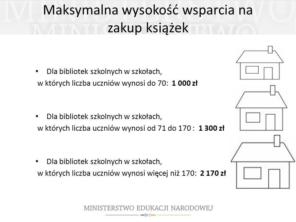 Maksymalna wysokość wsparcia na zakup książek Dla bibliotek szkolnych w szkołach, w których liczba uczniów wynosi do 70: 1 000 zł Dla bibliotek szkolnych w szkołach, w których liczba uczniów wynosi od 71 do 170 : 1 300 zł Dla bibliotek szkolnych w szkołach, w których liczba uczniów wynosi więcej niż 170: 2 170 zł