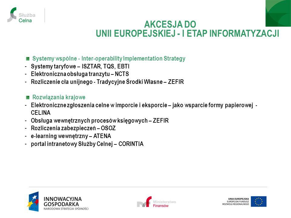 Systemy wspólne - Inter-operability Implementation Strategy - Systemy taryfowe – ISZTAR, TQS, EBTI - Elektroniczna obsługa tranzytu – NCTS - Rozliczenie cła unijnego - Tradycyjne Środki Własne – ZEFIR Rozwiązania krajowe - Elektroniczne zgłoszenia celne w imporcie i eksporcie – jako wsparcie formy papierowej - CELINA - Obsługa wewnętrznych procesów księgowych – ZEFIR - Rozliczenia zabezpieczeń – OSOZ - e-learning wewnętrzny – ATENA - portal intranetowy Służby Celnej – CORINTIA AKCESJA DO UNII EUROPEJSKIEJ - I ETAP INFORMATYZACJI