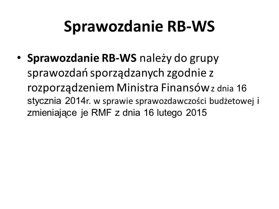 Sprawozdanie RB-WS Sprawozdanie RB-WS należy do grupy sprawozdań sporządzanych zgodnie z rozporządzeniem Ministra Finansów z dnia 16 stycznia 2014 r.