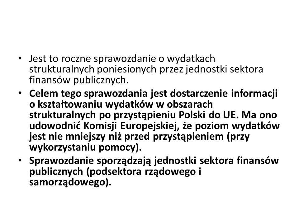 Jest to roczne sprawozdanie o wydatkach strukturalnych poniesionych przez jednostki sektora finansów publicznych. Celem tego sprawozdania jest dostarc
