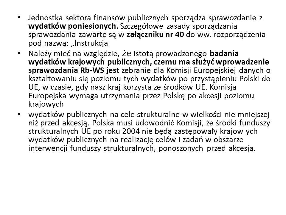 W sprawozdaniu Rb-WS nie należy wykazywać wydatków finansowanych ze środków UE (tj.