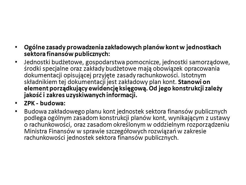 Ogólne zasady prowadzenia zakładowych planów kont w jednostkach sektora finansów publicznych: Jednostki budżetowe, gospodarstwa pomocnicze, jednostki
