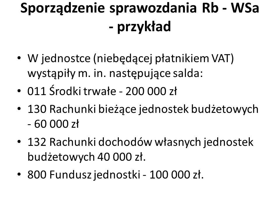 Sporządzenie sprawozdania Rb - WSa - przykład W jednostce (niebędącej płatnikiem VAT) wystąpiły m. in. następujące salda: 011 Środki trwałe - 200 000
