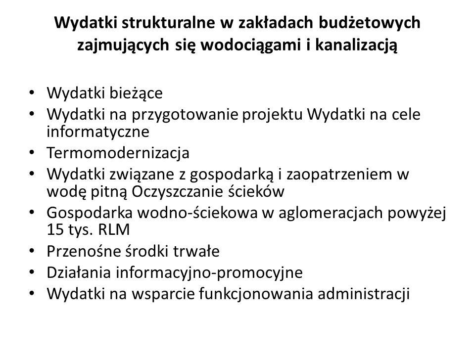 Wydatki strukturalne w zakładach budżetowych zajmujących się wodociągami i kanalizacją Wydatki bieżące Wydatki na przygotowanie projektu Wydatki na ce