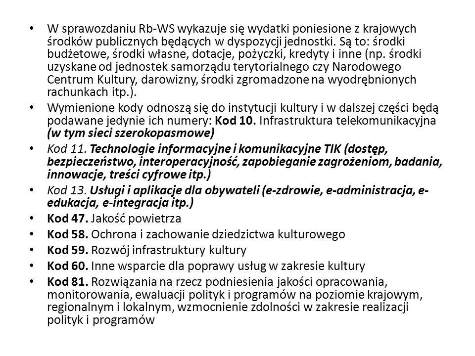 W sprawozdaniu Rb-WS wykazuje się wydatki poniesione z krajowych środków publicznych będących w dyspozycji jednostki. Są to: środki budżetowe, środki