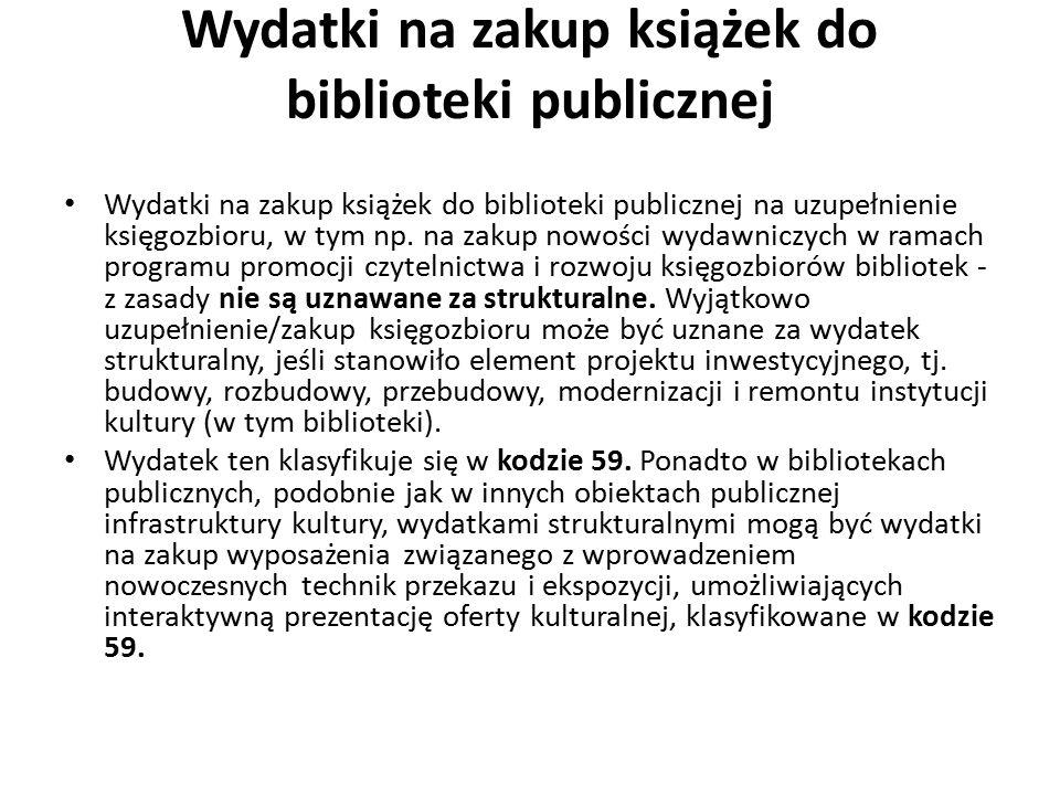 Wydatki na zakup książek do biblioteki publicznej Wydatki na zakup książek do biblioteki publicznej na uzupełnienie księgozbioru, w tym np. na zakup n