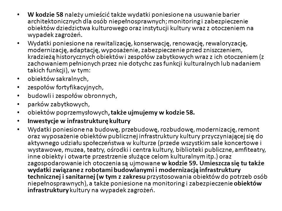 W kodzie 58 należy umieścić także wydatki poniesione na usuwanie barier architektonicznych dla osób niepełnosprawnych; monitoring i zabezpieczenie obi