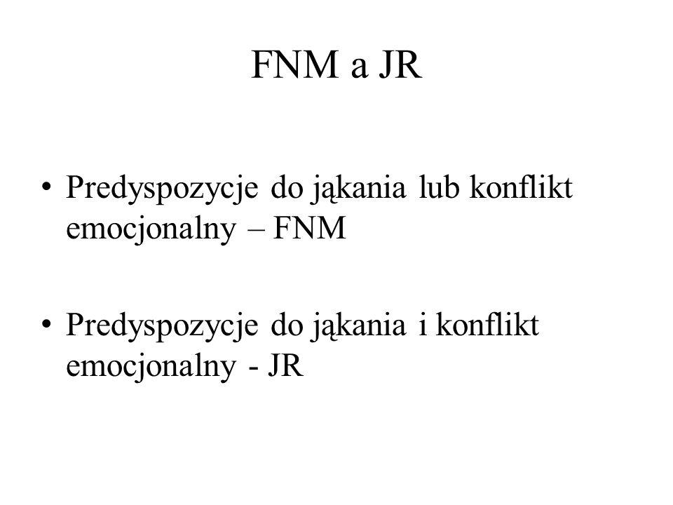 FNM a JR Predyspozycje do jąkania lub konflikt emocjonalny – FNM Predyspozycje do jąkania i konflikt emocjonalny - JR