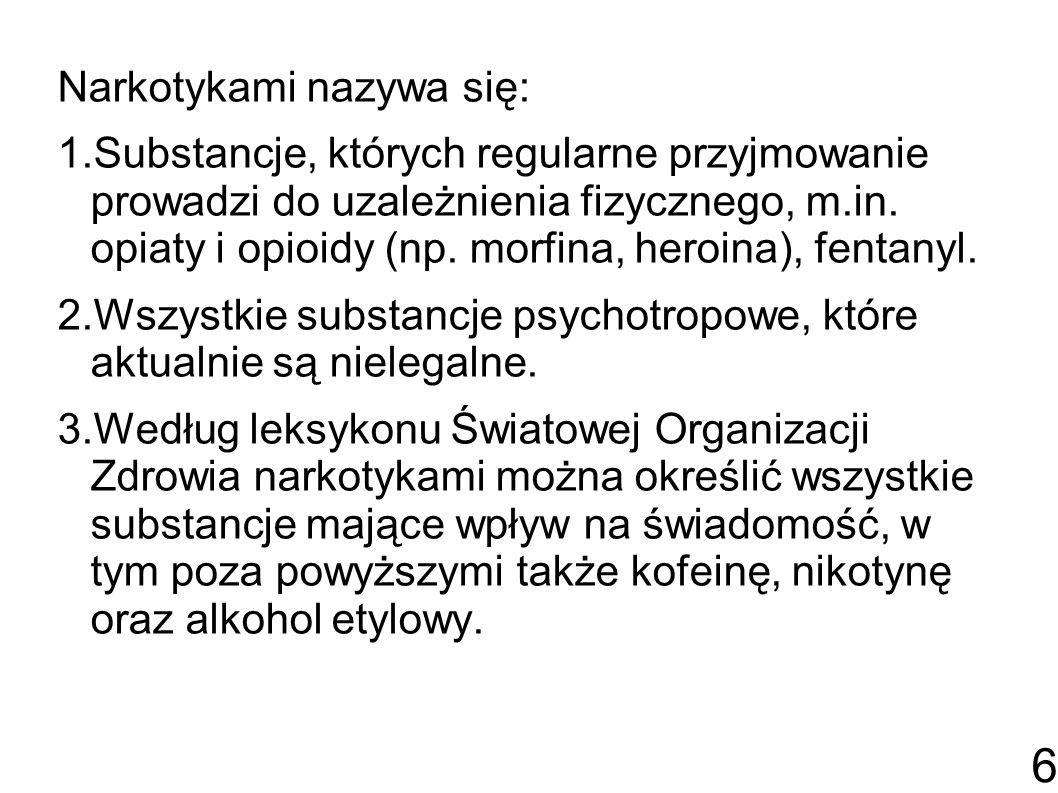 Narkotykami nazywa się: 1.Substancje, których regularne przyjmowanie prowadzi do uzależnienia fizycznego, m.in.