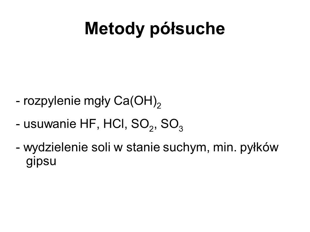 Metody półsuche - rozpylenie mgły Ca(OH) 2 - usuwanie HF, HCl, SO 2, SO 3 - wydzielenie soli w stanie suchym, min. pyłków gipsu