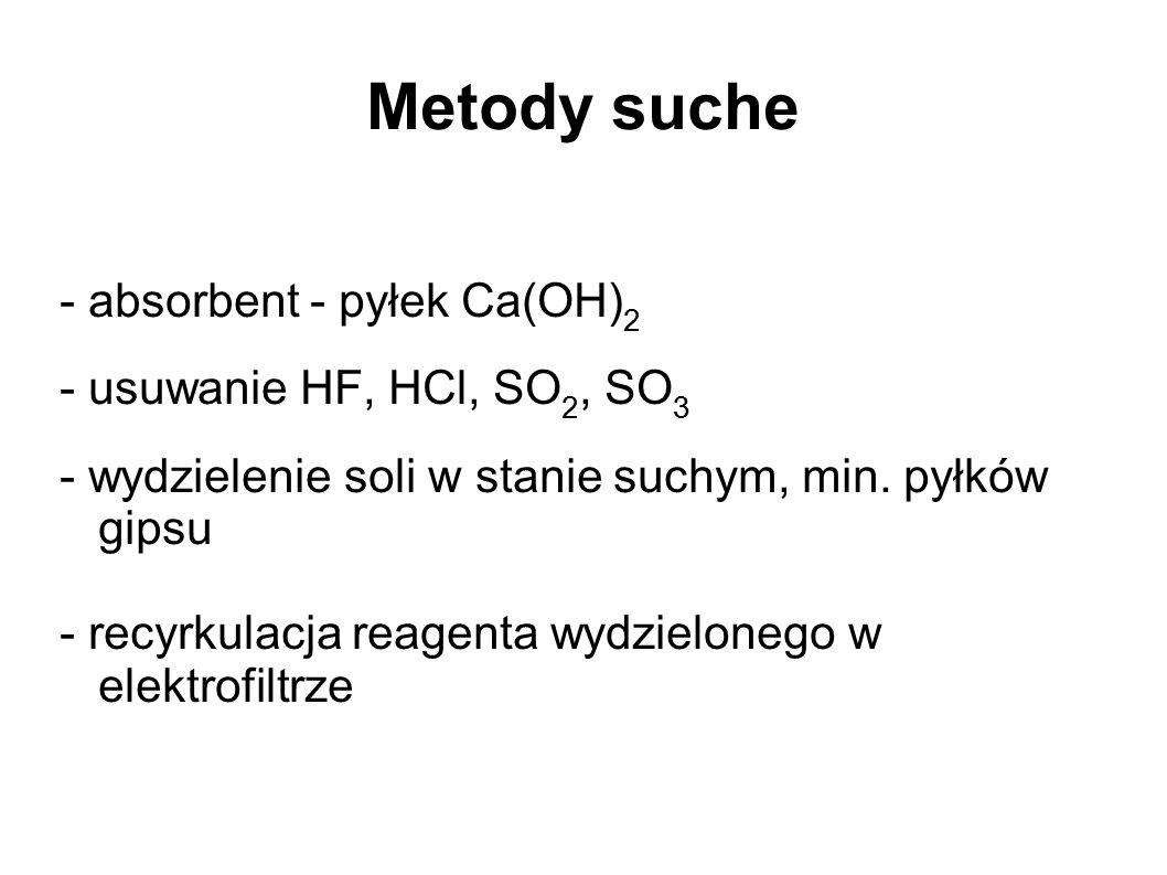 Metody suche - absorbent - pyłek Ca(OH) 2 - usuwanie HF, HCl, SO 2, SO 3 - wydzielenie soli w stanie suchym, min. pyłków gipsu - recyrkulacja reagenta