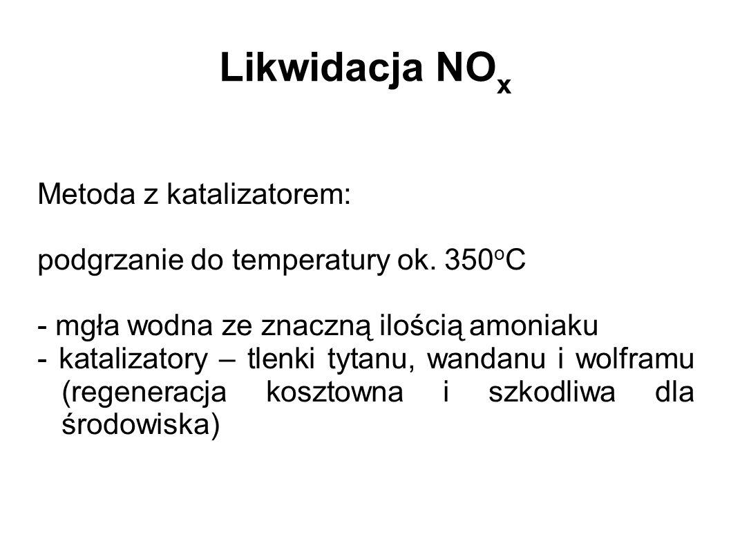 Likwidacja NO x Metoda z katalizatorem: podgrzanie do temperatury ok. 350 o C - mgła wodna ze znaczną ilością amoniaku - katalizatory – tlenki tytanu,