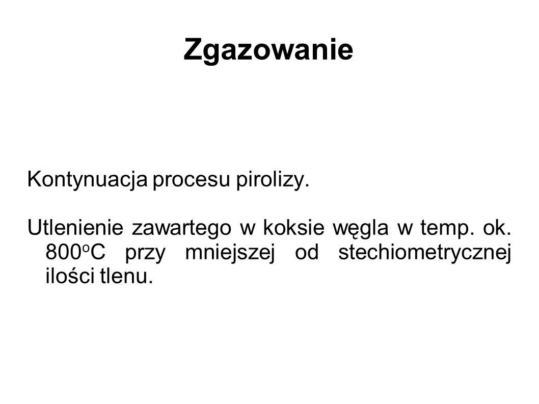 Zgazowanie Kontynuacja procesu pirolizy. Utlenienie zawartego w koksie węgla w temp. ok. 800 o C przy mniejszej od stechiometrycznej ilości tlenu.