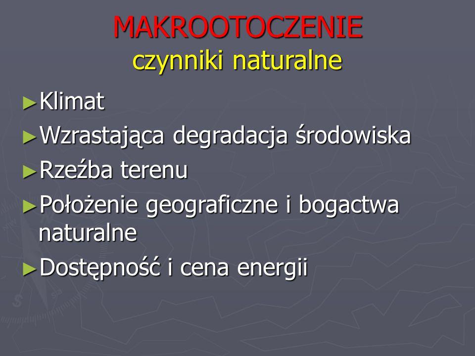 MAKROOTOCZENIE czynniki naturalne ► Klimat ► Wzrastająca degradacja środowiska ► Rzeźba terenu ► Położenie geograficzne i bogactwa naturalne ► Dostępność i cena energii