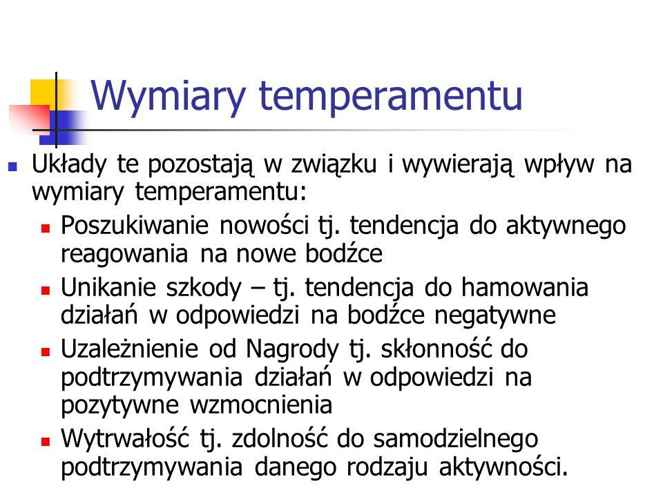 Wymiary temperamentu Układy te pozostają w związku i wywierają wpływ na wymiary temperamentu: Poszukiwanie nowości tj. tendencja do aktywnego reagowan
