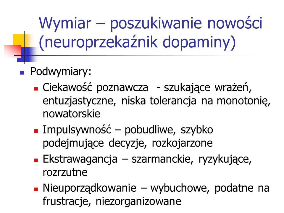 Wymiar – poszukiwanie nowości (neuroprzekaźnik dopaminy) Podwymiary: Ciekawość poznawcza - szukające wrażeń, entuzjastyczne, niska tolerancja na monot