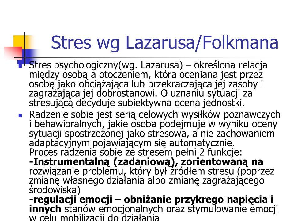 Stres wg Lazarusa/Folkmana Stres psychologiczny(wg. Lazarusa) – określona relacja między osobą a otoczeniem, która oceniana jest przez osobę jako obci