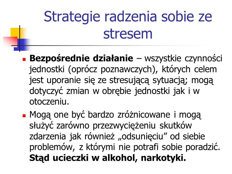 Strategie radzenia sobie ze stresem Bezpośrednie działanie – wszystkie czynności jednostki (oprócz poznawczych), których celem jest uporanie się ze st