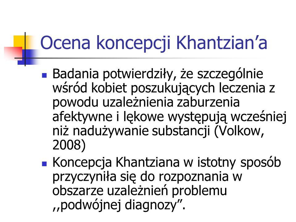 Ocena koncepcji Khantzian'a Badania potwierdziły, że szczególnie wśród kobiet poszukujących leczenia z powodu uzależnienia zaburzenia afektywne i lęko