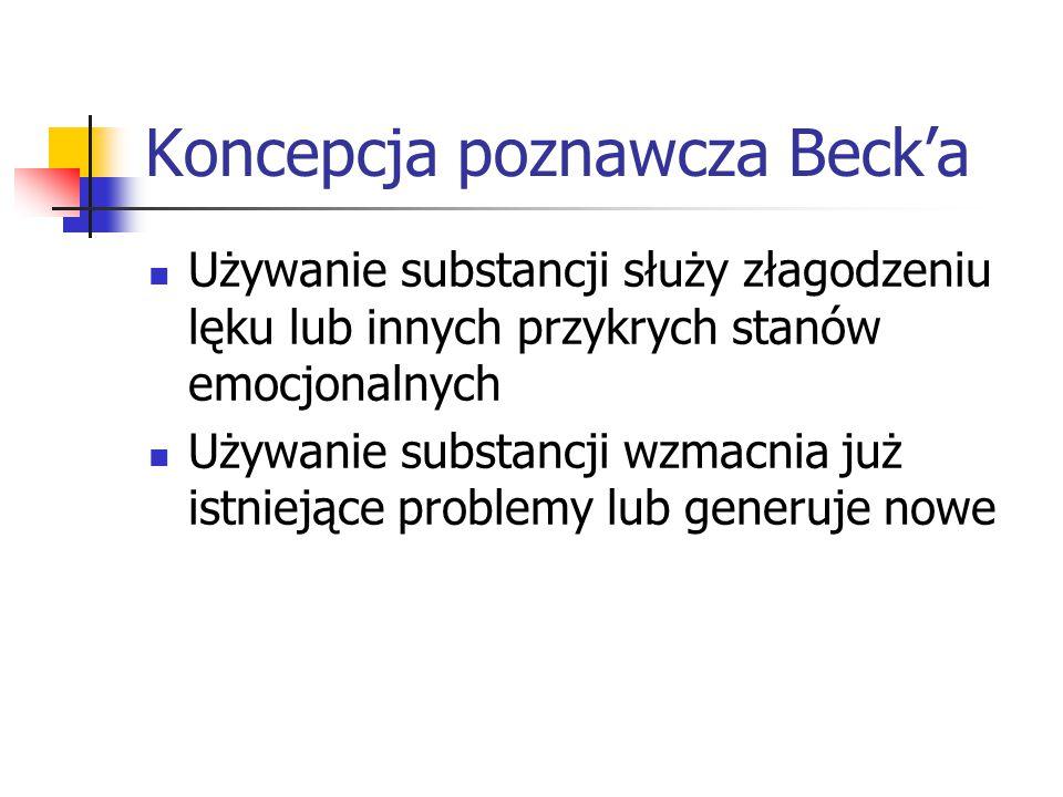 Koncepcja poznawcza Beck'a Używanie substancji służy złagodzeniu lęku lub innych przykrych stanów emocjonalnych Używanie substancji wzmacnia już istni