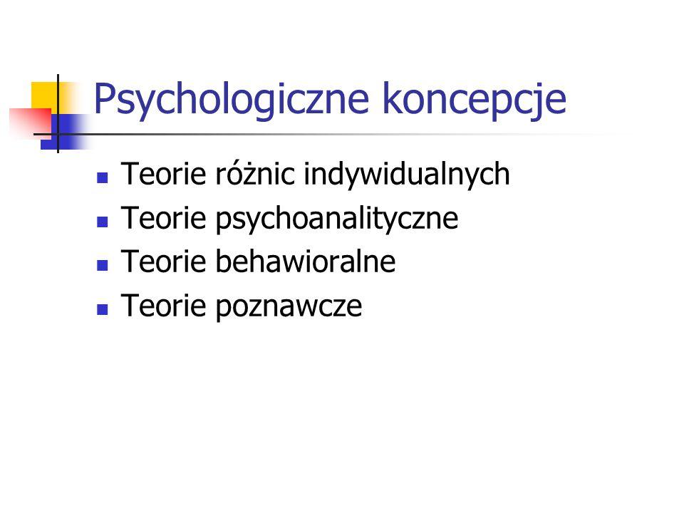 Psychologiczne koncepcje Teorie różnic indywidualnych Teorie psychoanalityczne Teorie behawioralne Teorie poznawcze