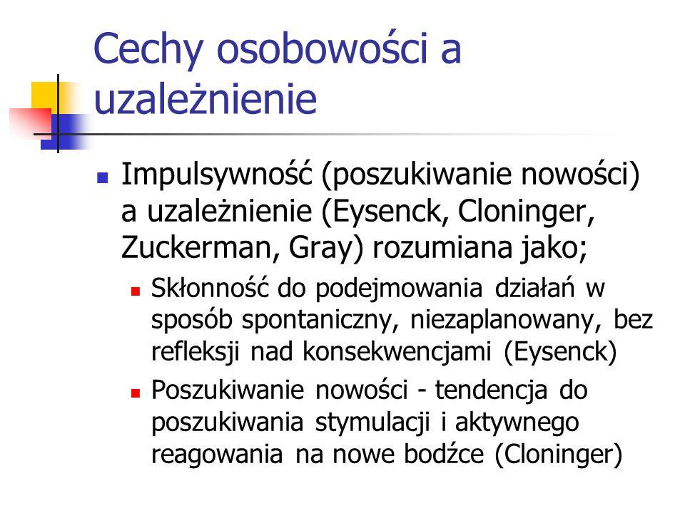 Cechy osobowości a uzależnienie Impulsywność (poszukiwanie nowości) a uzależnienie (Eysenck, Cloninger, Zuckerman, Gray) rozumiana jako; Skłonność do