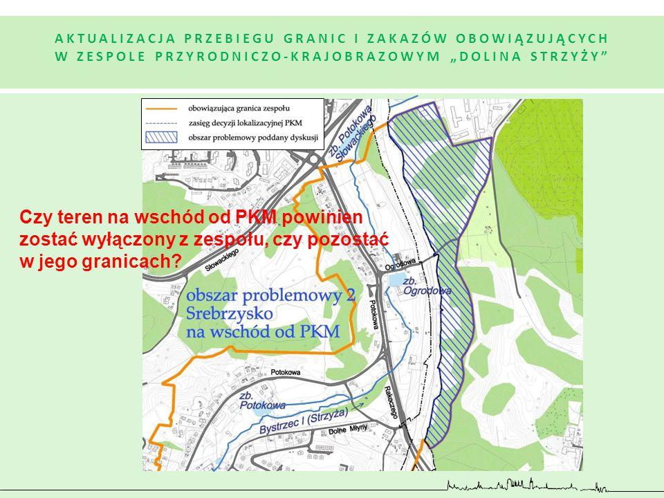 Czy teren na wschód od PKM powinien zostać wyłączony z zespołu, czy pozostać w jego granicach?