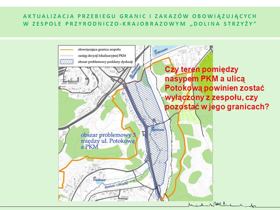 Czy teren pomiędzy nasypem PKM a ulicą Potokową powinien zostać wyłączony z zespołu, czy pozostać w jego granicach?