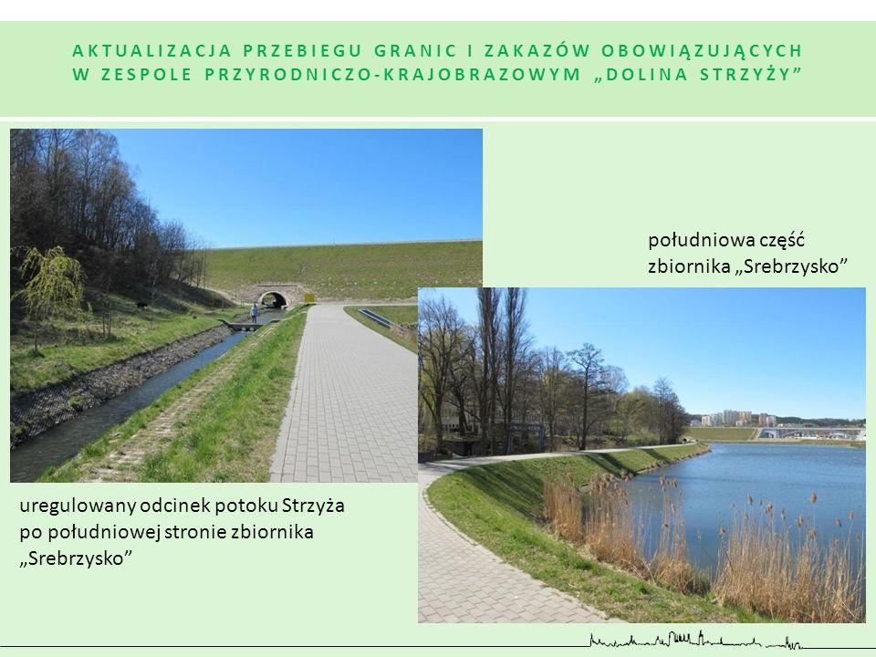 """południowa część zbiornika """"Srebrzysko"""" uregulowany odcinek potoku Strzyża po południowej stronie zbiornika """"Srebrzysko"""" AKTUALIZACJA PRZEBIEGU GRANIC"""