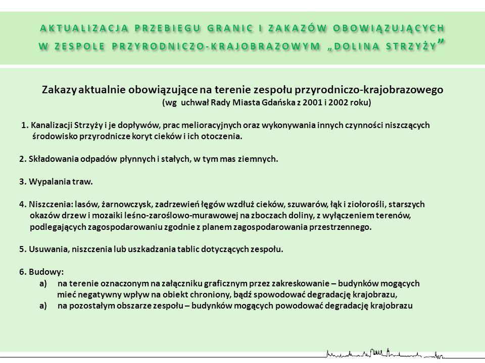 Zakazy aktualnie obowiązujące na terenie zespołu przyrodniczo-krajobrazowego (wg uchwał Rady Miasta Gdańska z 2001 i 2002 roku) 1. Kanalizacji Strzyży