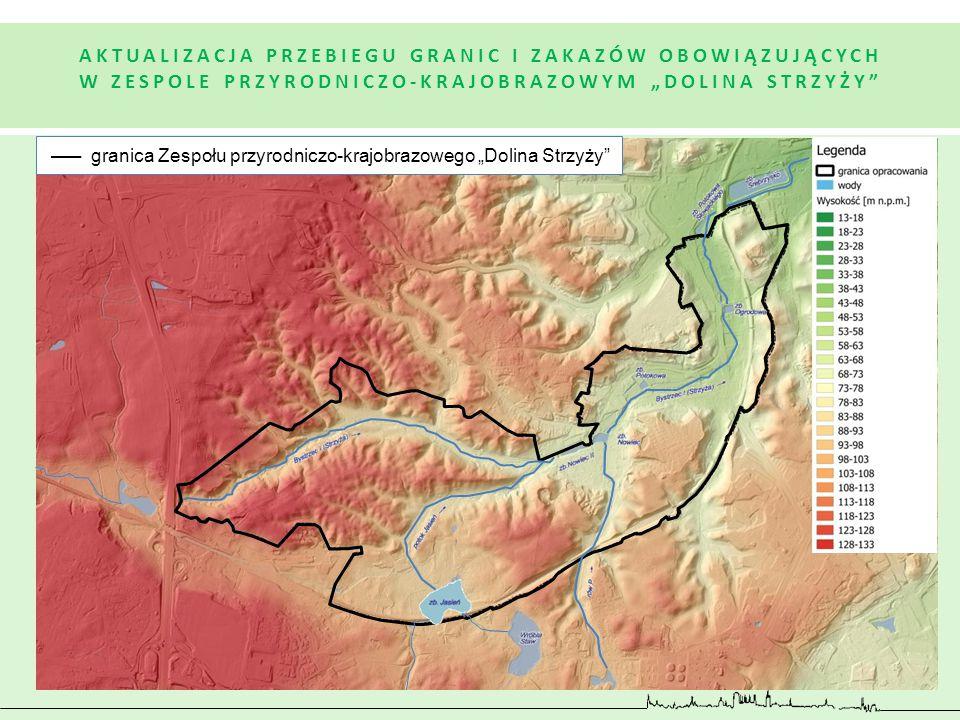 """AKTUALIZACJA PRZEBIEGU GRANIC I ZAKAZÓW OBOWIĄZUJĄCYCH W ZESPOLE PRZYRODNICZO-KRAJOBRAZOWYM """"DOLINA STRZYŻY"""" granica Zespołu przyrodniczo-krajobrazowe"""