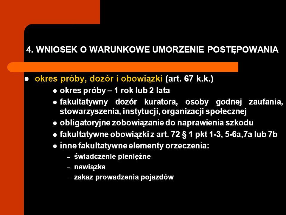 4.WNIOSEK O WARUNKOWE UMORZENIE POSTĘPOWANIA okres próby, dozór i obowiązki (art.