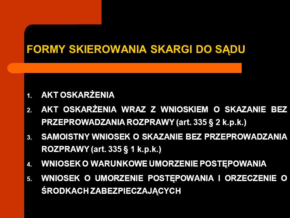 FORMY SKIEROWANIA SKARGI DO SĄDU 1.AKT OSKARŻENIA 2.