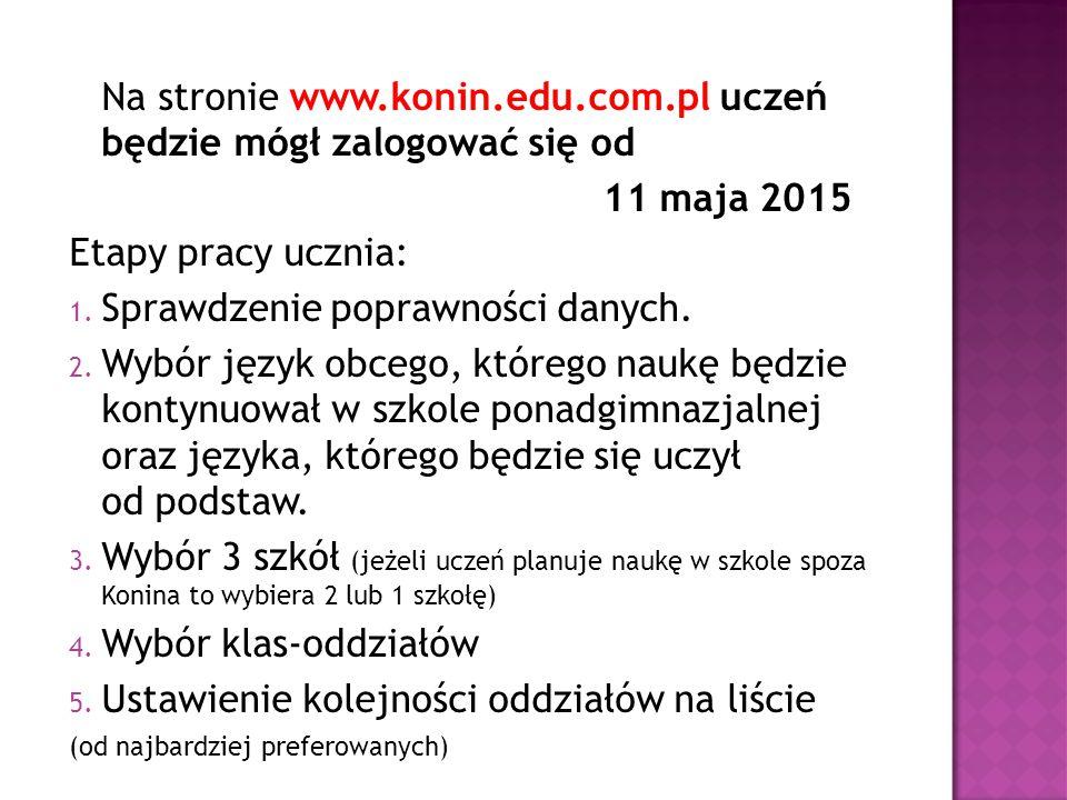 Na stronie www.konin.edu.com.pl uczeń będzie mógł zalogować się od 11 maja 2015 Etapy pracy ucznia: 1. Sprawdzenie poprawności danych. 2. Wybór język