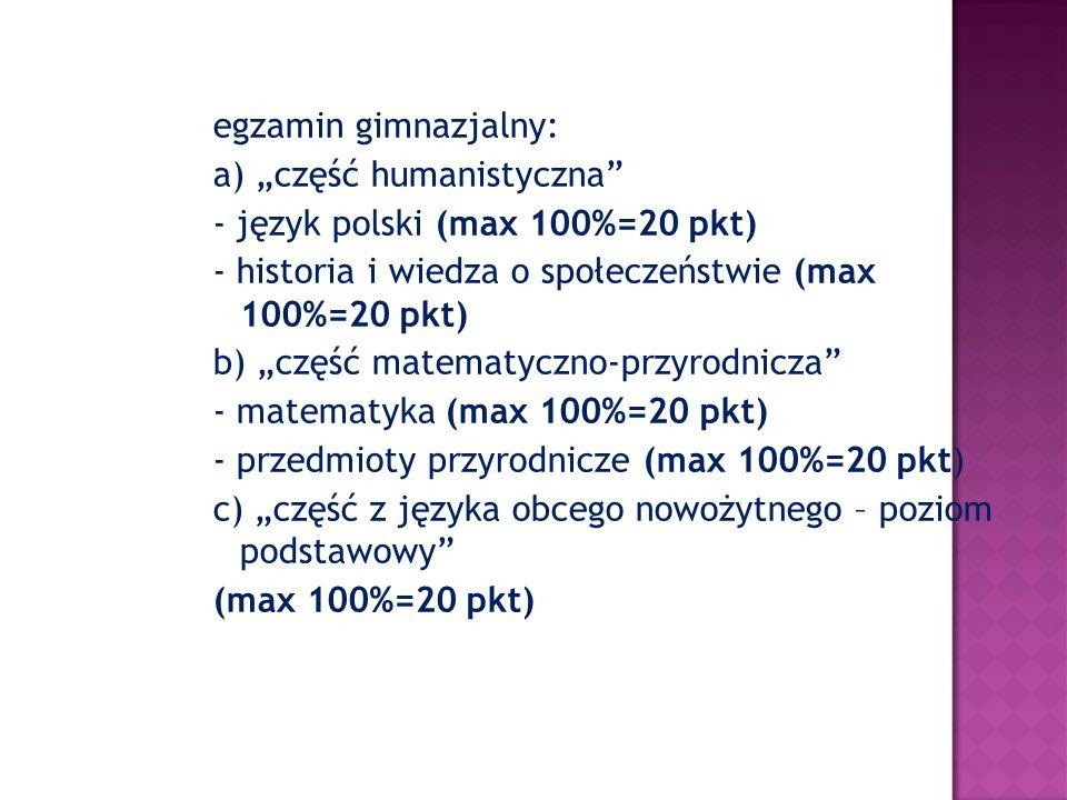 """egzamin gimnazjalny: a) """"część humanistyczna"""" - język polski (max 100%=20 pkt) - historia i wiedza o społeczeństwie (max 100%=20 pkt) b) """"część matema"""