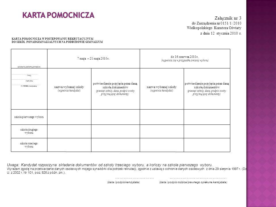 Załącznik nr 3 do Zarządzenia nr 0151/1 /2010 Wielkopolskiego Kuratora Oświaty z dnia 12 stycznia 2010 r. Uwaga: Kandydat rozpoczyna składanie dokumen