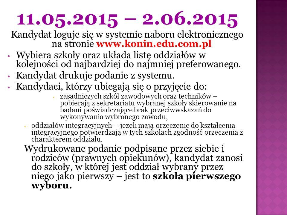 11.05.2015 – 2.06.2015 Kandydat loguje się w systemie naboru elektronicznego na stronie www.konin.edu.com.pl Wybiera szkoły oraz układa listę oddziałó