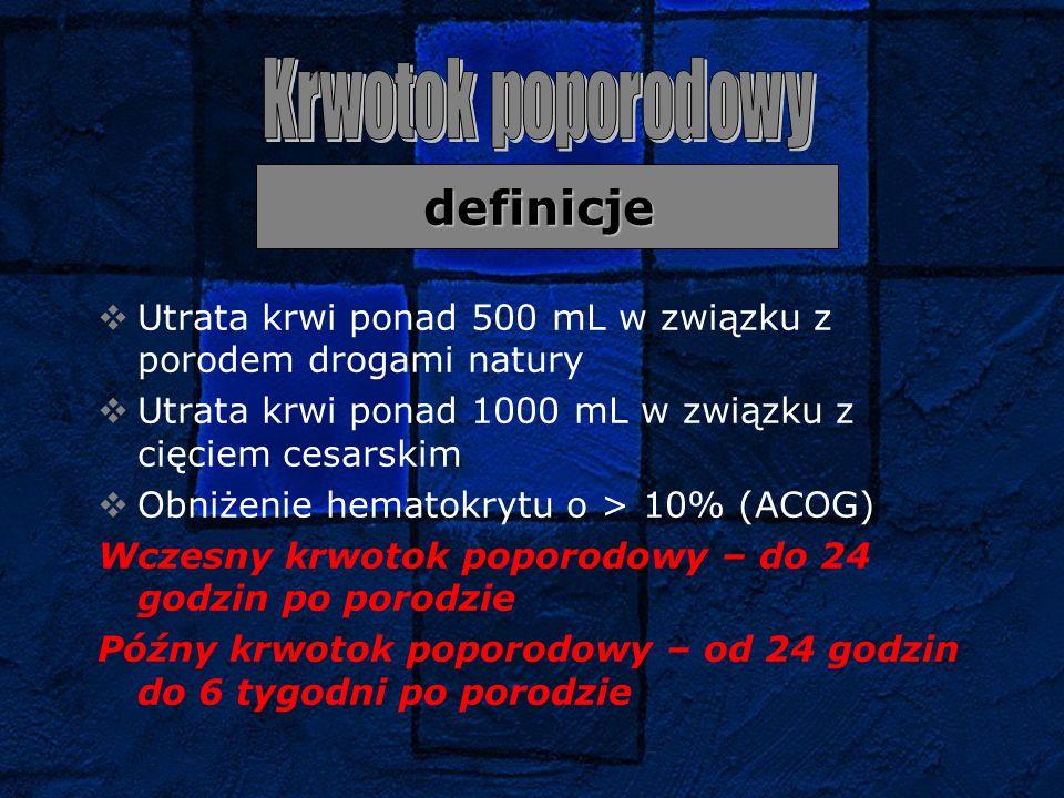 definicje  Utrata krwi ponad 500 mL w związku z porodem drogami natury  Utrata krwi ponad 1000 mL w związku z cięciem cesarskim  Obniżenie hematokr