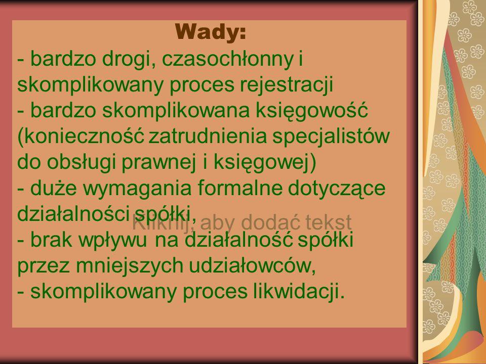 Kliknij, aby dodać tekst Wady: - bardzo drogi, czasochłonny i skomplikowany proces rejestracji - bardzo skomplikowana księgowość (konieczność zatrudni