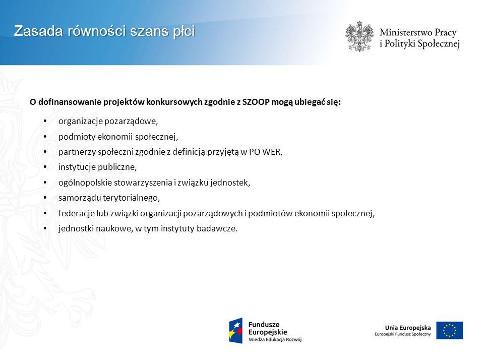O dofinansowanie projektów konkursowych zgodnie z SZOOP mogą ubiegać się: organizacje pozarządowe, podmioty ekonomii społecznej, partnerzy społeczni z