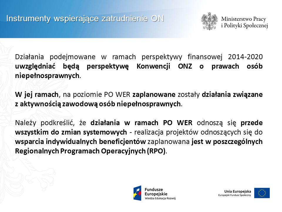 Działania podejmowane w ramach perspektywy finansowej 2014-2020 uwzględniać będą perspektywę Konwencji ONZ o prawach osób niepełnosprawnych. W jej ram