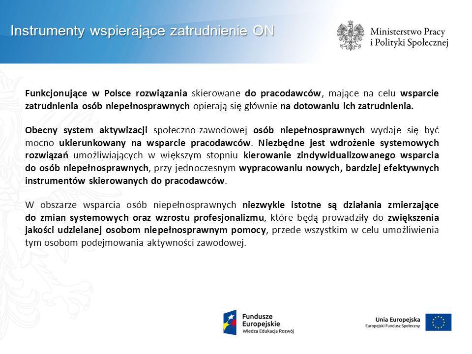 Funkcjonujące w Polsce rozwiązania skierowane do pracodawców, mające na celu wsparcie zatrudnienia osób niepełnosprawnych opierają się głównie na doto