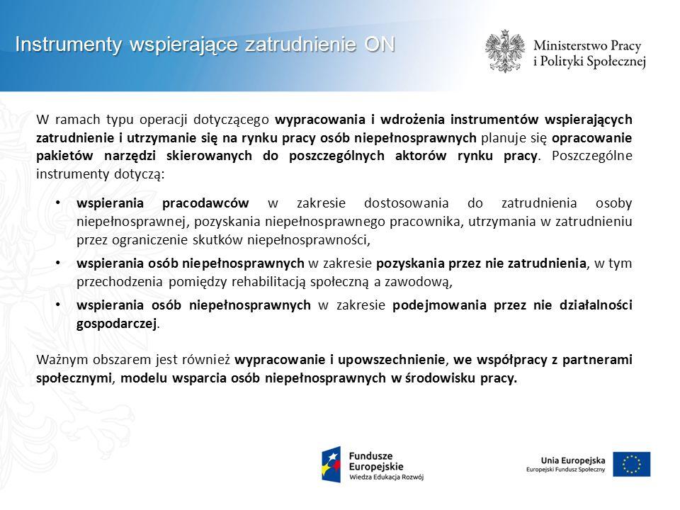 W ramach typu operacji dotyczącego wypracowania i wdrożenia instrumentów wspierających zatrudnienie i utrzymanie się na rynku pracy osób niepełnospraw
