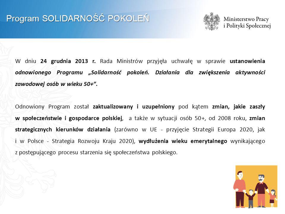 """W dniu 24 grudnia 2013 r. Rada Ministrów przyjęła uchwałę w sprawie ustanowienia odnowionego Programu """"Solidarność pokoleń. Działania dla zwiększenia"""
