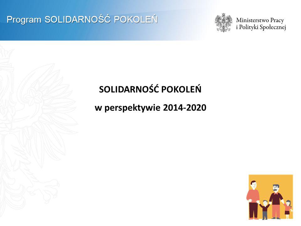 SOLIDARNOŚĆ POKOLEŃ w perspektywie 2014-2020 Program SOLIDARNOŚĆ POKOLEŃ