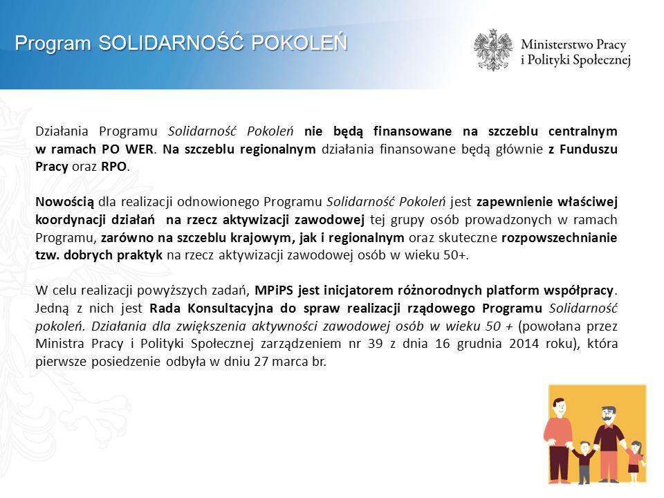Działania Programu Solidarność Pokoleń nie będą finansowane na szczeblu centralnym w ramach PO WER. Na szczeblu regionalnym działania finansowane będą