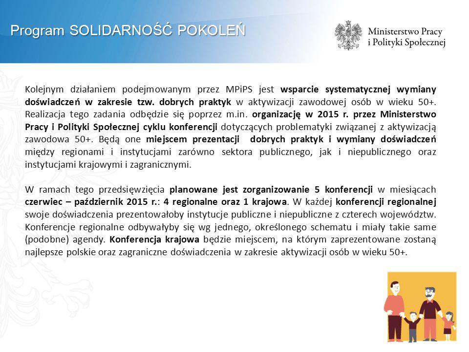 Kolejnym działaniem podejmowanym przez MPiPS jest wsparcie systematycznej wymiany doświadczeń w zakresie tzw.