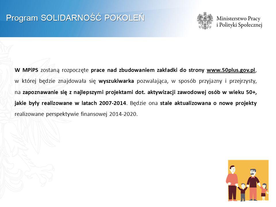 W MPiPS zostaną rozpoczęte prace nad zbudowaniem zakładki do strony www.50plus.gov.pl, w której będzie znajdowała się wyszukiwarka pozwalająca, w sposób przyjazny i przejrzysty, na zapoznawanie się z najlepszymi projektami dot.